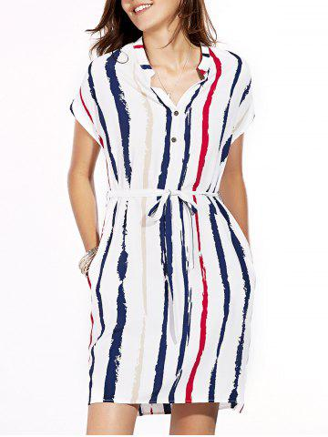 Discount Casual V-Neck Short Sleeves Stripe Dress For Women
