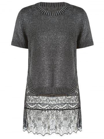 Buy Trendy Short Sleeve Furcal Sweater + Mini Lace Sundress Women's Twinset