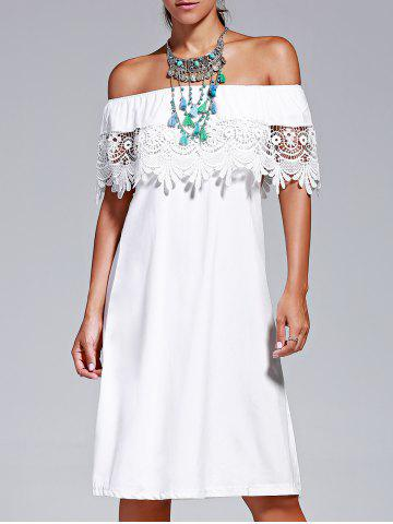 Outfit Sweet Off The Shoulder Lace Design Pure Color Dress For Women