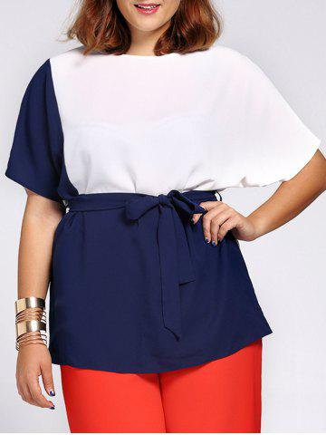 Hot Chic Short Sleeve Color Block Waist Tied Plus Size Blouse For Women COLORMIX 3XL