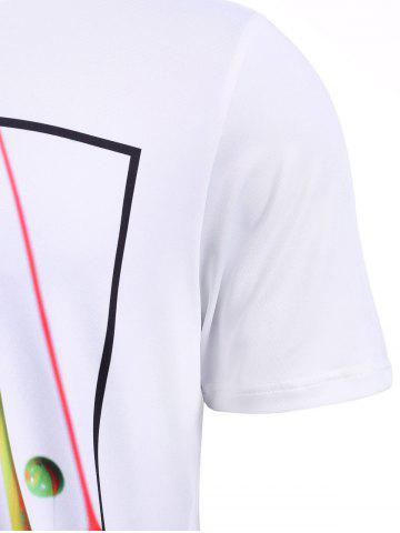 Buy Round Neck Stylish 3D Coloful Pigment Print Short Sleeve T-Shirt For Men - M WHITE Mobile