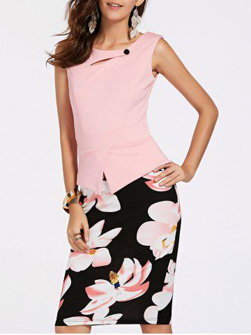 Discount Elegant Sleeveless Floral Print Faux Twinset Women's OL Dress
