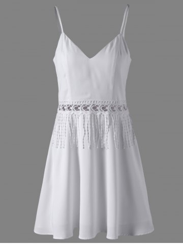 Chic Women's Stylish White Crochet Tassel Insert V Neck Dress