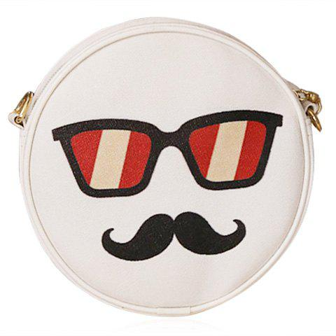 Discount Sweet Round Shape and Glasses Print Design Crossbody Bag For Women
