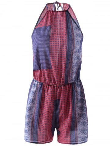 Affordable Fashionable Halter Sleeveless Print Romper BLUE AND RED XL