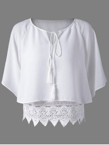 Buy Trendy Round Collar Lace Spliced Hollow Out Pure Color Women's Blouse WHITE S