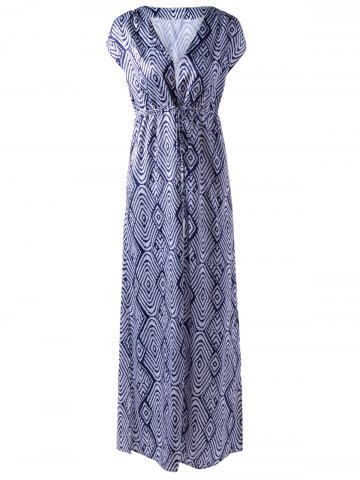 New Empire Waist V-Neck Short Sleeve Printed Maxi Dress STRIPE L
