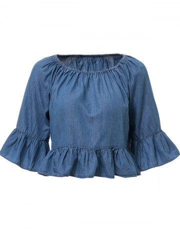 Bleach Wash Denim Ruffle T-Shirt - Ice Blue - L
