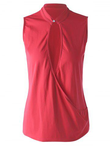 Store Stylish Stand Collar Red Wrap Top For Women