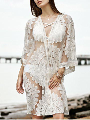 Shops Stylish 3/4 Sleeve Embroidery See-Through Women's Cover Up