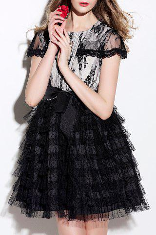 Trendy Lace Panel Tiered A Line Dress