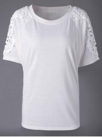 Shop Elegant Bud Silk Round Collar Short Sleeve T-shirt