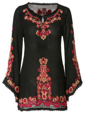 Trendy Ethnic Style V-Neck Floral Embroidery Lace Splicing Long Sleeve Dress For Women