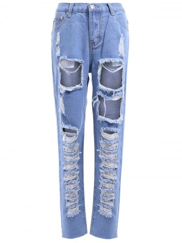 Sale Fashionable Bleach Wash Ripped Jeans For Women