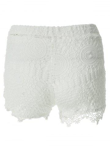 Store Sweet Style Solid Color Lace Tie-Up Shorts For Women - S WHITE Mobile