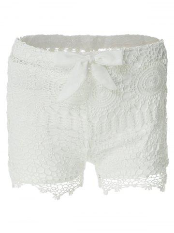Affordable Sweet Style Solid Color Lace Tie-Up Shorts For Women