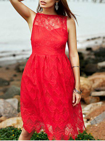 Cheap Scallop Floral Lace Fit and Flare Dress - S RED Mobile