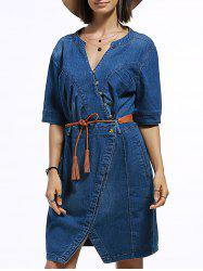 V Neck Slit Belted Denim Jean Dress - BLUE S