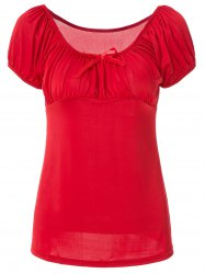 Noble Boat Neck Solid Color Bowknot Ruffled T-Shirt For Women -