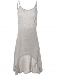 Grey Spaghetti Strap Backless High Low Dress -