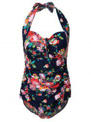 Sexy Floral Print Plus Size Cut Out One-Piece Swimsuit For Women