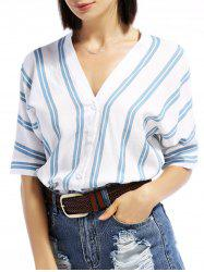 V-Neck Batwing Sleeve Striped Linen Shirt