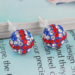 Pair of Union Flag Ball Shape Alloy Stud Earrings