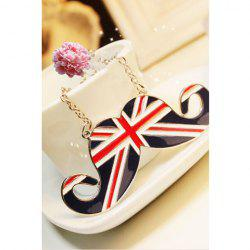 Britain Style Union Flag Mustache Shape Pendant Necklace