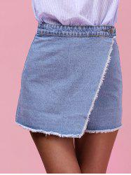 Button Fly Unedged Asymmetrical Skirt