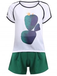 Casual Cactus Pattern T-Shirt + Shorts Women's Twinset -