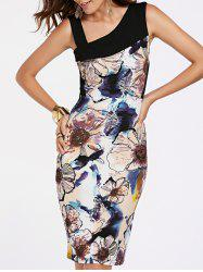Sweet Skew Neck Sleeveless Floral Print Women's Dress