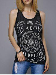 Casual Scoop Neck Letter Print Disk Pattern Women's Tank Top - BLACK