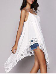 Crochet Trim Hanky Hem Strappy Tank Top -