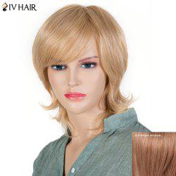 Women's Fluffy Siv Hair Inclined Bang Short Human Hair Wig