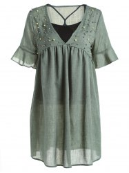 Casual Style Tank Top and Plunging Neck Half Sleeve Beaded Dress For Women -