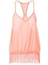 Sweet Spaghetti Strap Fringe Splicing Sleeveless Blouse For Women