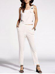 Stylish Scoop Neck Top and Solid Color Pants Set For Women -