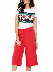 Stylish Jewel Neck T-Shirt and Solid Color Pants Set For Women -