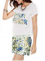 Stylish Jewel Neck Openwork Top and Print Shorts Set For Women -