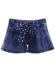 Trendy Bleash Wash Denim Flare Shorts For Women -