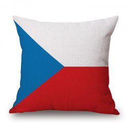 2016 European Cup Czech Flag Pattern Square Shape Flax Cushion Cover -