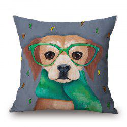 Creative Scarf Puppy Pattern Square Shape Cushion Cover -
