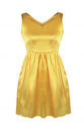 V Neck Satin Mini Skater Cocktail Night Out Dress - YELLOW