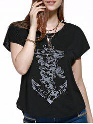 Dolman Sleeve Anchor Graphic T-Shirt -