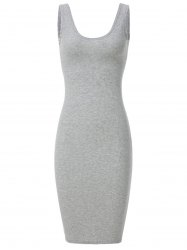 Charming Scoop Neck Sleeveless Pure Color Cut Out Women's Dress -