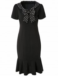 Vintage V-Neck Short Sleeve Polka Dot Bowknot Women's Fishtail Mermaid Dress