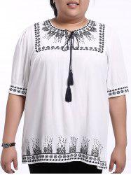 Ethnic Plus Size Embroidered Loose-Fitting Women's Blouse -