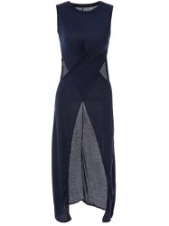 Stylish Round Neck Solid Color High Slit Hollow Out Sleeveless Maxi Dress For Women -