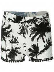 Tree Print Laced Flowy Shorts - BLACK