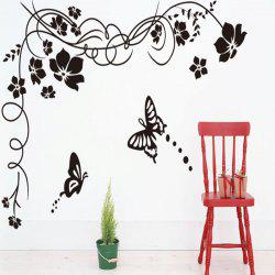 Simple DIY Black Flowers and Butterfly Pattern Removable Wall Sticker -